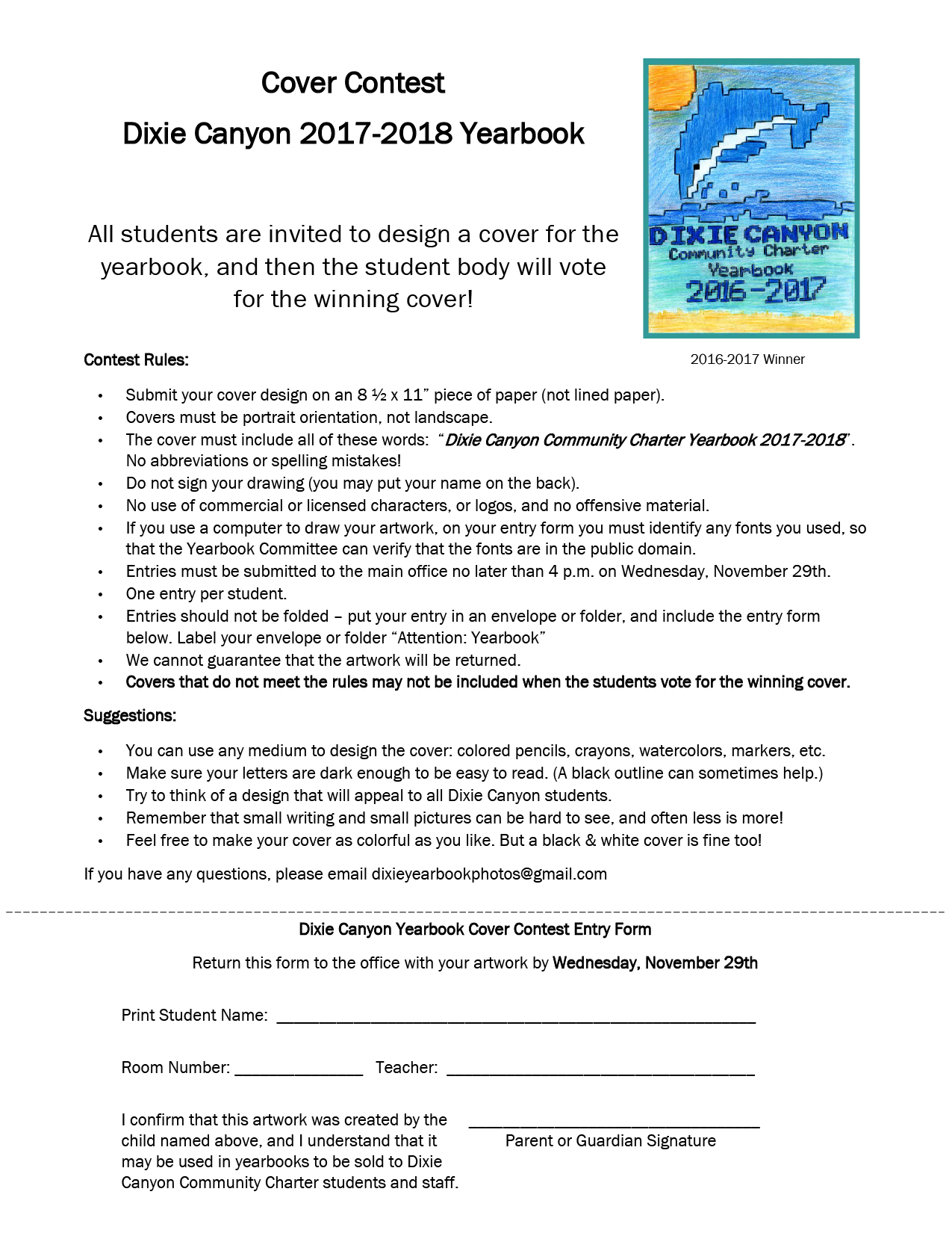 Yearbook Contest Entry Form 2017-2018 - Dixie Canyon Community ...