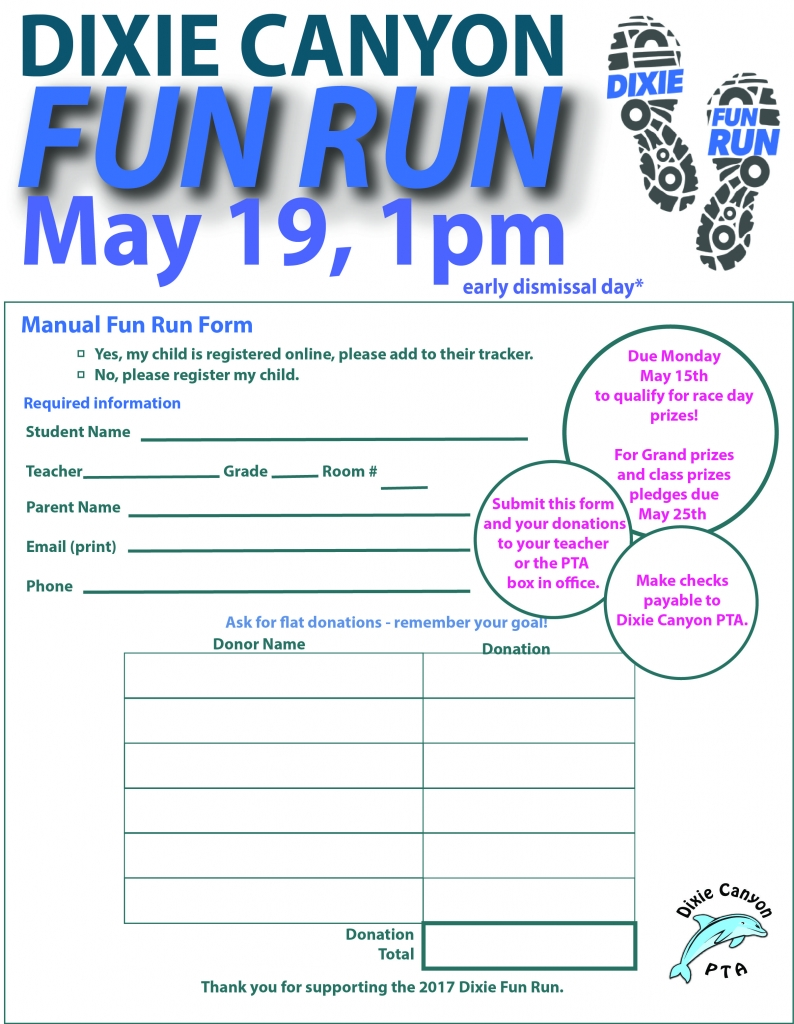 Fun Run Manual Pledge form2017